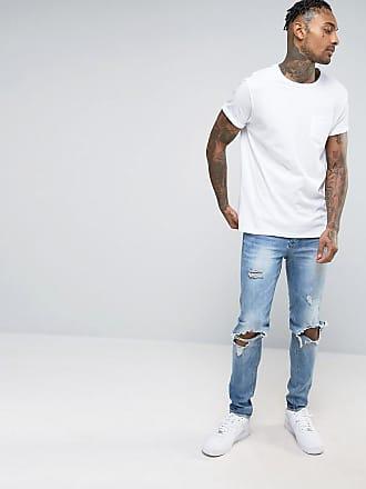 River Island T-Shirt mit Tasche und aufgerollten Ärmeln in Weiß - Weiß c8511404c8