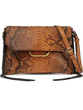 Isabel Marant Sinky Whipstitched Snake-effect Leather Shoulder Bag - Brown