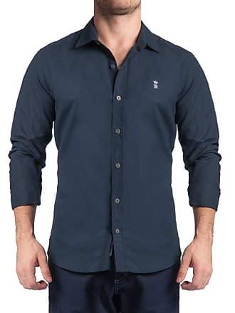 Sergio K. Camisa Dark Blue Texture Marinho
