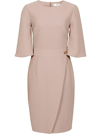 50963eca Reiss Myra - Tailored Wrap Front Dress in Neutral, Womens, Size 10