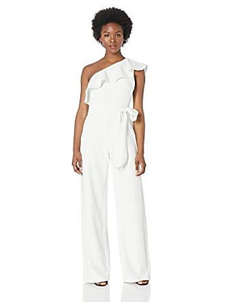 Adrianna Papell Womens Ruffle One Shoulder Jumpsuit with Tie Waist, Ivory, 6