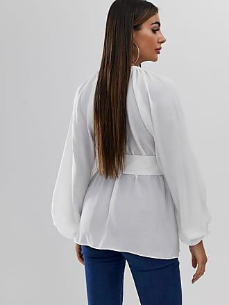 45417d3329f360 Asos Langärmliges Oberteil mit tiefem Ausschnitt, Kimono-Ärmeln und Gürtel  - Weiß