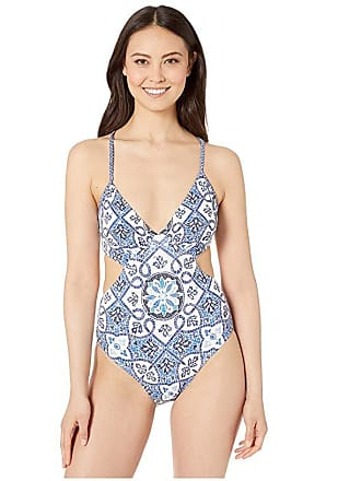 ea2b81f840c Michael Kors Halter Cut Out One-Piece w/ Removeable Soft Cups (Grecian Blue