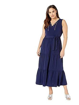 a2ef64d37d Michael Kors Plus Size Chain Lace-Up Maxi Dress (True Navy) Womens Dress