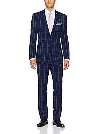 Nick Graham Mens Slim Fit Stretch Finished Bottom Suit, Navy, 40 Regular
