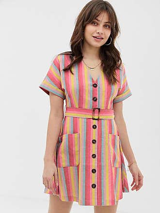 Moon River rainbow stripe skater dress with buton down front - Multi