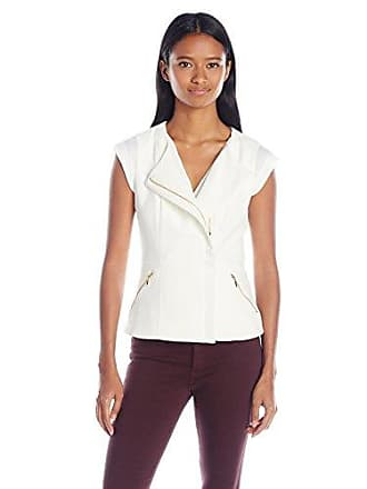 xoxo Womens Asymmetrical Zip Front Vest, Ivory, Medium