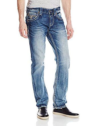 Rock Revival Mens Straight Fit Jean, Medium Blue, 42