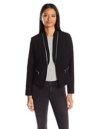 xoxo Womens Crepe Zip Collar Jacket, Black, Large
