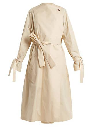 J.W.Anderson Jw Anderson - Oversized High Neck Tie Waist Cotton Trench Coat - Womens - Cream