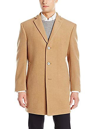 Calvin Klein Mens Slim Fit Wool Blend Overcoat Jacket, Camel, 44 Long