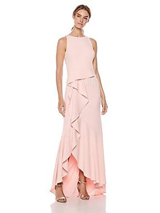 Adrianna Papell Womens Halter Knit Crepe Trumpet Gown, Pale Shell, 8