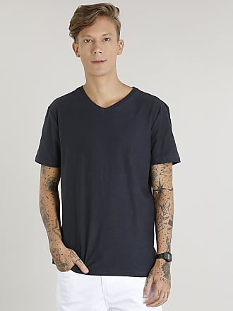 f174beb656 Basics Camiseta Masculina Básica Flamê Manga Curta Gola V Chumbo