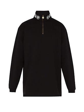 VETEMENTS Text Print Neck Quarter Zip Cotton Sweatshirt - Mens - Black