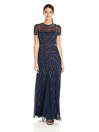 Adrianna Papell Womens Short-Sleeve Beaded Mesh Gown, Navy, 4
