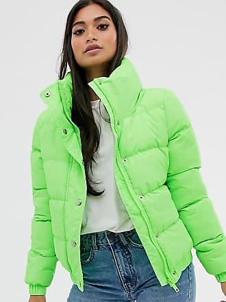 Brave Soul Petite Slay - Wattierter Mantel mit kurzem Schnitt-Grün