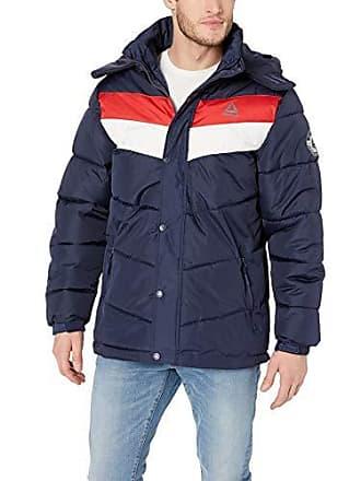 Reebok Mens Heavy Weight Hooded Bubble Jacket, Navy, XL