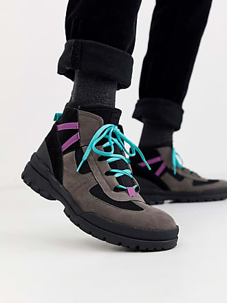 Asos hiker lace up boots in grey multi