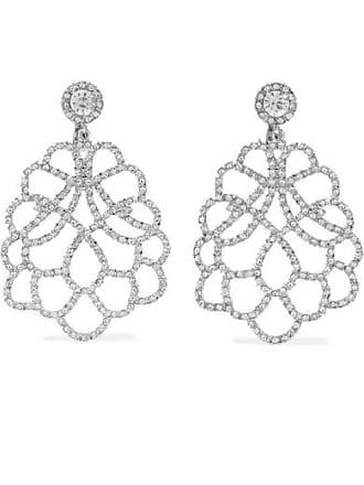 Kenneth Jay Lane Rhodium-plated Crystal Clip Earrings - Silver