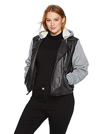 Yoki Womens Plus Size Sherpa Lined Faux Leather Moto Jacket, Black, 3X