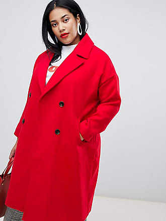 Vero Moda Curve Double Breasted Overcoat - Red
