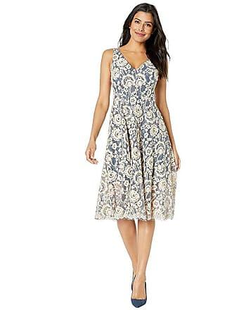 2906e8b4afd Vince Camuto Lace V-Neck Midi Dress (Vintage Blue) Womens Dress