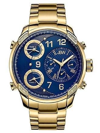 Zales Mens JBW G4 1/6 CT. T.w. Diamond 18K Gold Plate Watch with Blue Dial (Model: J6248K)