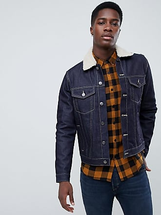 New Look denim jacket with borg in dark blue wash - Blue