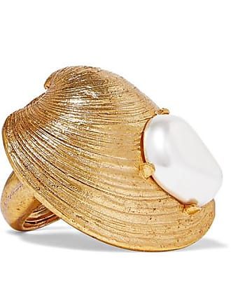 Oscar De La Renta Gold-tone Faux Pearl Ring