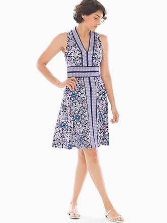 Soma V-Neck Border Print Short Dress Blue/White, Size XS