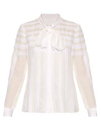 10fe62b764811 Oscar De La Renta Long Sleeved Lace Trimmed Silk Blouse - Womens - White