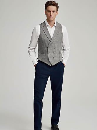 Hackett Mens Windowpane Check Wool, Cashmere Waistcoat | Size 40Regular | Grey/Blue