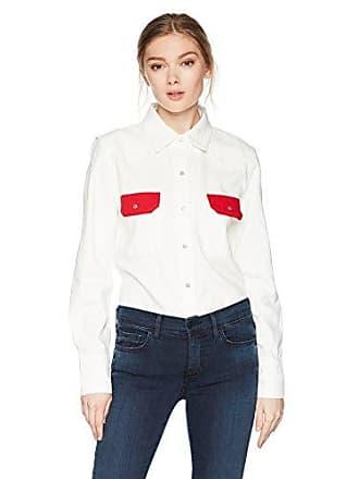 Calvin Klein Jeans Womens Western Lean Contrast Button Down Shirt Tango Red, Rigid, Small
