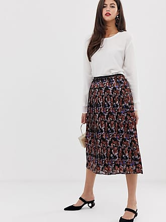 Y.A.S pleated scarf print midi skirt - Black