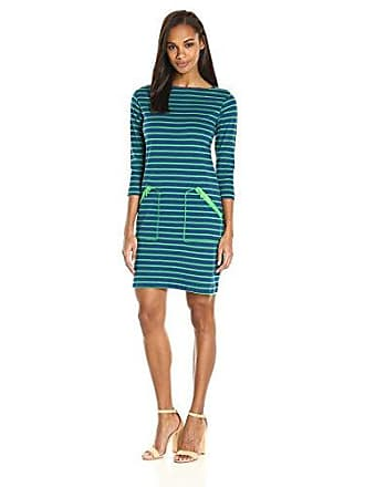 Joan Vass Womens Stripe Cotton Interlock Dress, Azure Combo M