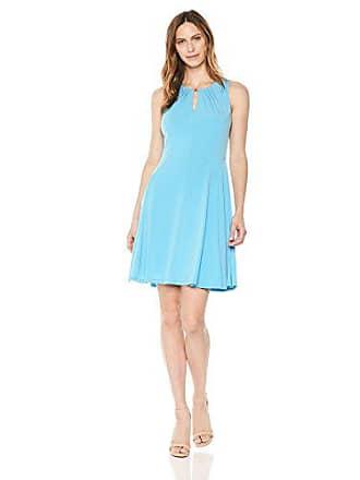 Ivanka Trump Womens Sleeveless Printed Pleated Dress, Blue Bell, L