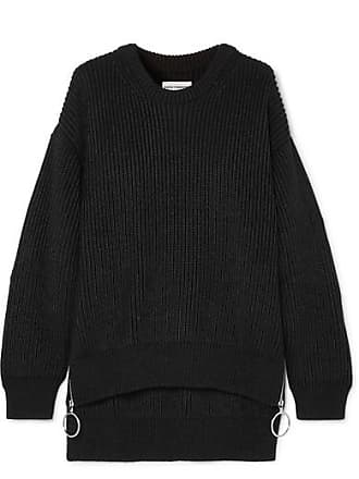 Paco Rabanne Zip-detailed Ribbed Cotton-blend Sweater - Black