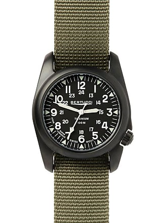 Bertucci A-2T Mens Analog Vintage Watch Black/Drab Nylon Band 12028