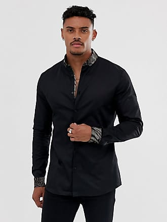 River Island shirt with leopard collar in black