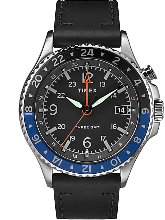 Timex Watch Mens Allied Three Gmt 43MM Leather Strap Stainless Steel/Black Item Tw2R43600Vq