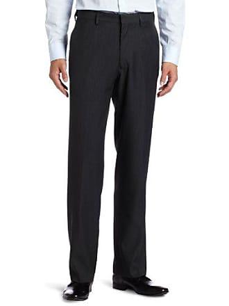 Haggar Mens Flex Gab Heather Plain Front Expandable Waistband Straight Fit Dress Pant,Charcoal Heather,34x32
