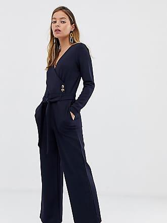 64de149b4f14 Vero Moda Petite Tuta jumpsuit a portafoglio con bottoni blu navy - Navy