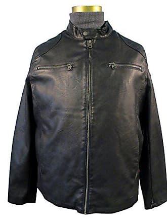 Levi's Mens Faux Leather Racer Jacket with 2 Zipper Chest Pockets, Black, Medium