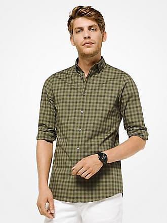 Michael Kors Mens Slim-Fit Gingham Stretch-Cotton Shirt