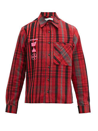 7c0b78352 Off-white Off-white - Mariana Checked Cotton Blend Flannel Shirt - Mens -