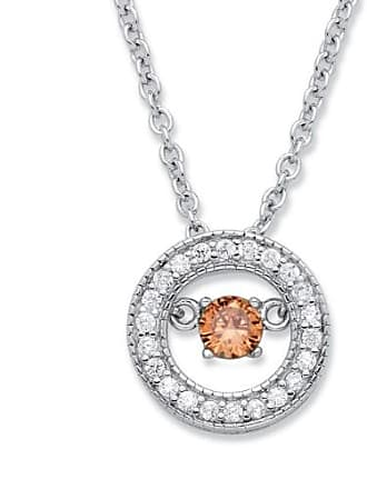 PalmBeach Jewelry 20 TCW CZ in Motion Birthstone and CZ Halo Pendant Necklace in Sterling Silver 18 - November- Simulated Citrine