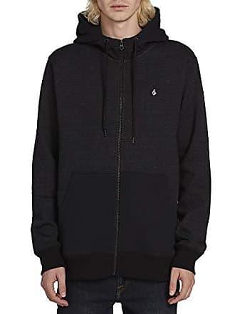 Volcom Mens Single Stone Zip Up Hooded Sweatshirt, Sulfur Black, Extra Extra Large