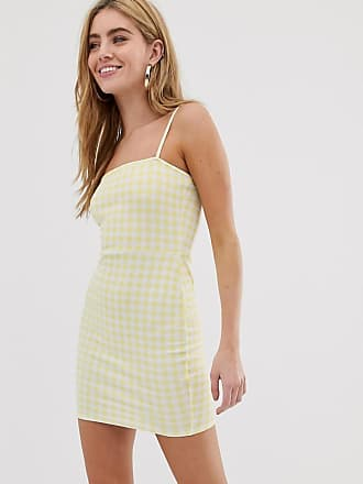 Daisy Street square neck cami dress in gingham - Yellow