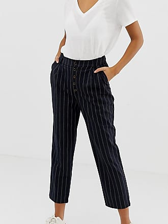 New Look tapered pants with button front in pinstripe - Navy