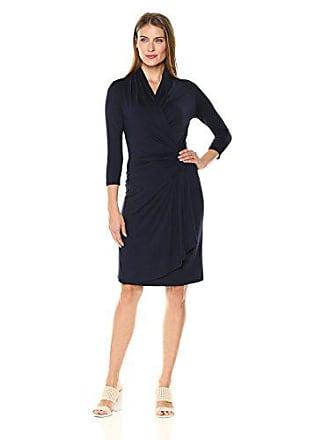 ca1749b0f36 Karen Kane Womens Three-Quarter-Sleeve Cascade Wrap Dress